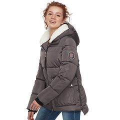 Juniors' madden NYC Quilted Hooded Puffer Jacket