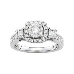 Simply Vera Vera Wang 14k White Gold 3/4 Carat T.W. Diamond Square Halo Engagement Ring