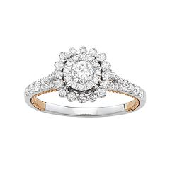 Simply Vera Vera Wang Two Tone 14k Gold 3/4 Carat T.W. Diamond Halo Engagement Ring