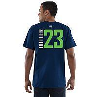 Men's Majestic Minnesota Timberwolves Jimmy Butler Name & Number Vertical Tee