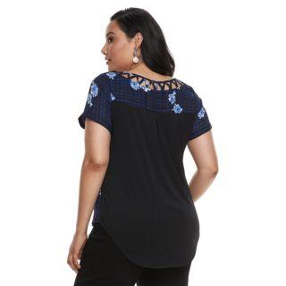 Plus Size Apt. 9® Zipper-Front Georgette Top