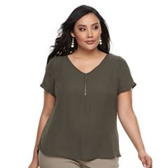 Plus Size Apt. 9® Zipper-Front Georgette Top