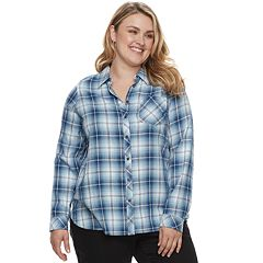 Plus Size SONOMA Goods for Life™ High-Low Plaid Shirt