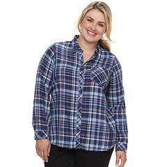 19e6849aaa3 Plus Size SONOMA Goods for Life™ High-Low Plaid Shirt