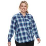 Plus Size SONOMA Goods for Life? High-Low Plaid Shirt