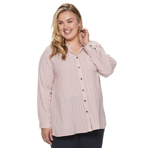 3ca225d0ed92b9 Plus Size SONOMA Goods for Life™ High-Low Plaid Shirt
