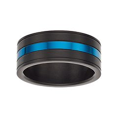LYNX Men's Striped Black & Blue Stainless Steel Ring