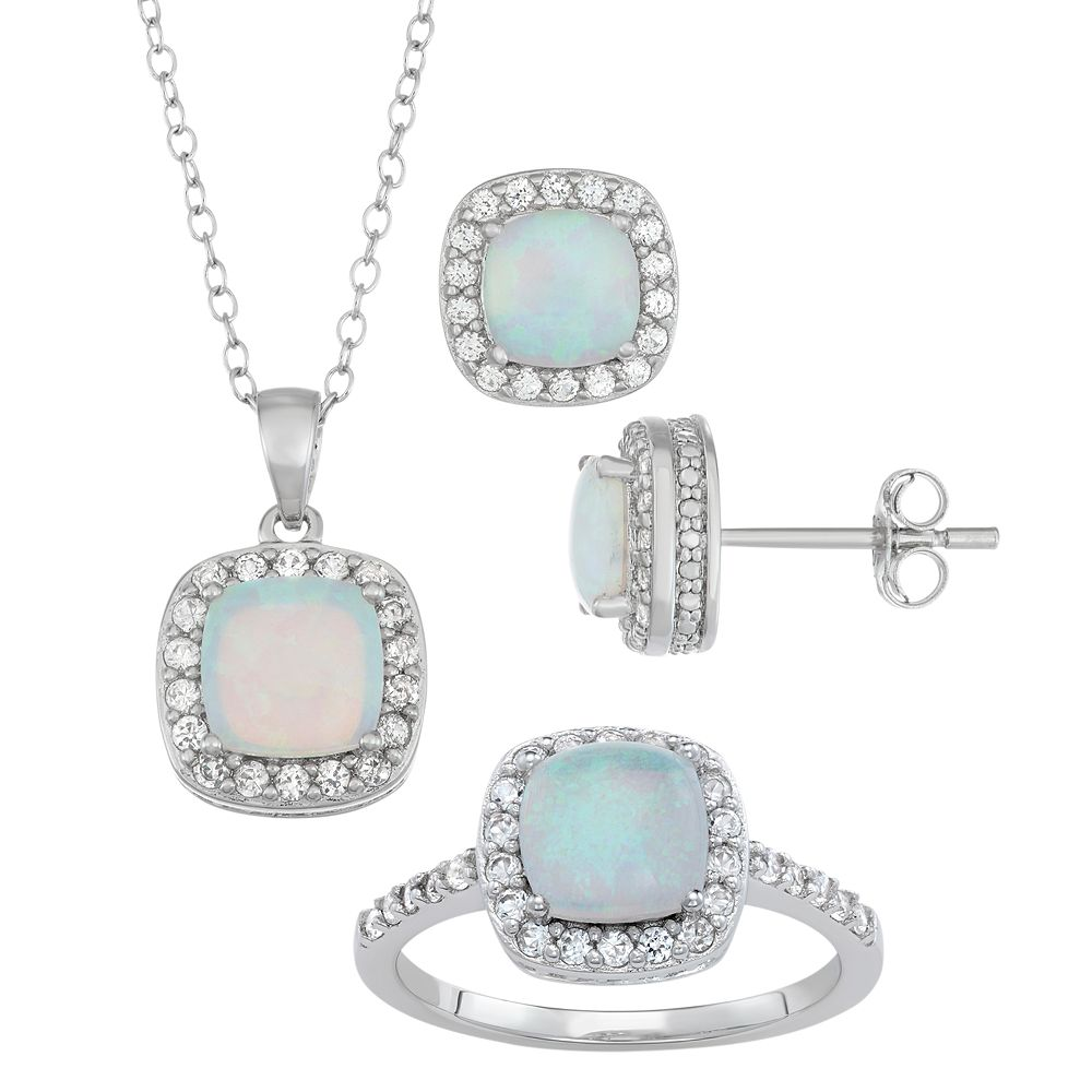 Sterling Silver Lab-Created Opal & Lab-Created White Sapphire Ring, Pendant & Earring Set