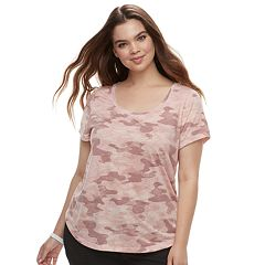Juniors' Plus Size Mudd® Roadtrip Scoopneck Tee