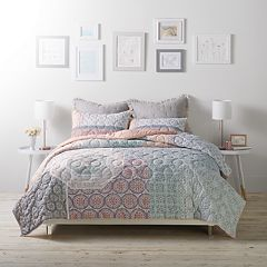 LC Lauren Conrad Tile Patchwork Cloud Quilt Set