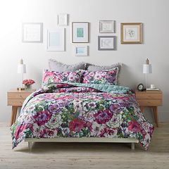 LC Lauren Conrad Watercolor Garden Cloud Quilt Set
