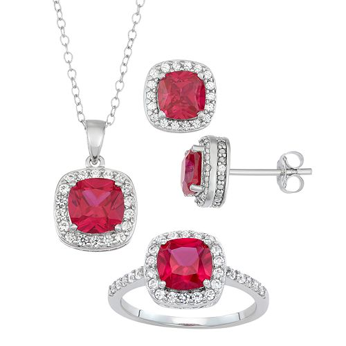 Sterling Silver Simulated Ruby & Lab-Created White Sapphire Ring, Pendant & Earring Set