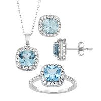 Sterling Silver Lab-Created Blue Topaz & Lab-Created White Sapphire Ring, Pendant & Earring Set