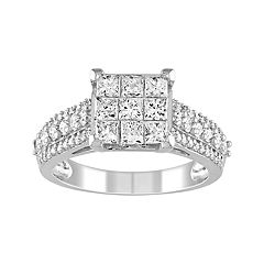 Lovemark 10k White Gold 1 1/2 Carat T.W. Diamond Invisible Set Ring