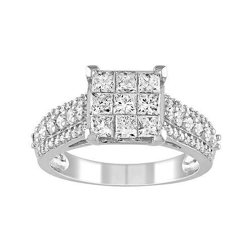 Stella Grace Lovemark 10k White Gold 1 1/2 Carat T.W. Diamond Invisible Set Ring