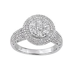 Stella Grace Lovemark 10k White Gold 2 Carat T.W. Diamond Cluster Ring