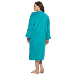 Plus Size Miss Elaine Essentials Long Fleece Robe