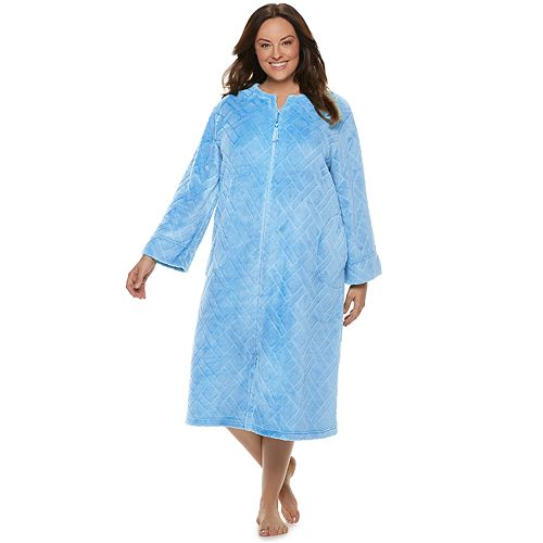 Plus Size Miss Elaine Essentials Long Fleece Robe
