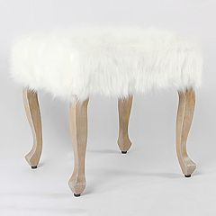 HomePop Faux-Fur Stool End Table