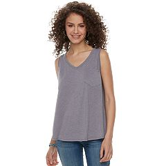 Juniors' SO® Pocket V-Neck Tank