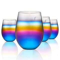 Artland 4-piece Rainbow Stemless Wine Glass Set