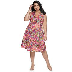 Plus Size Suite 7 Floral Halter Dress