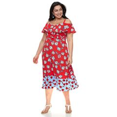 Plus Size Suite 7 Floral Cold-Shoulder Dress