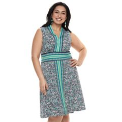 Plus Size Suite 7 Printed Sleeveless Dress