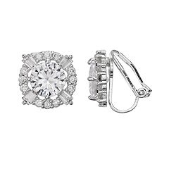 Dana Buchman Cubic Zirconia Halo Clip-On Earrings
