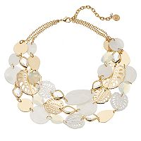 Dana Buchman Leaf & Mother-of-Pearl Disc Multistrand Necklace