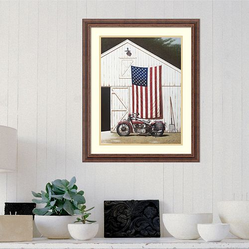 Amanti Art Framed Art Print Barn and Motorcycle