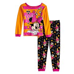 Disney's Minnie Mouse Toddler Girl Glow-in-the-Dark Halloween Top & Bottoms Pajama Set