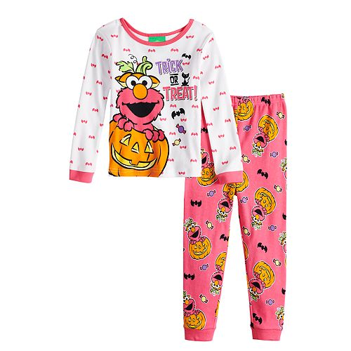 3a66539555 Toddlr Girl Sesame Street Elmo Glow-in-the-Dark Halloween Top   Bottoms Pajama  Set