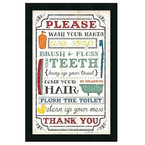 Amanti Art Framed Art Print Bathroom Rules