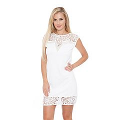 Women's White Mark Charlotte Lace-Trim Sheath Dress
