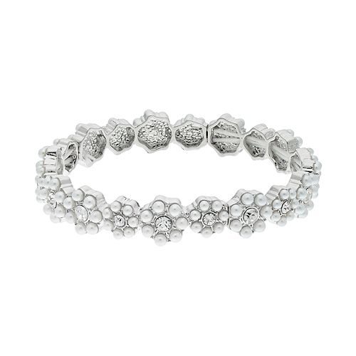 LC Lauren Conrad Simulated Pearl Stretch Bracelet