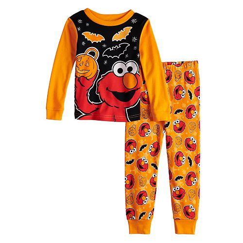 d59bd527baa7 Toddler Boy Sesame Street Elmo Glow-in-the-Dark Halloween Top   Bottoms  Pajama Set