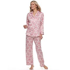 Women's Miss Elaine Essentials Satin Shirt & Pants Pajama Set
