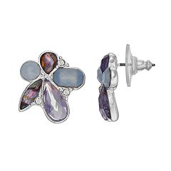 Dana Buchman Purple Simulated Crystal Cluster Stud Earrings