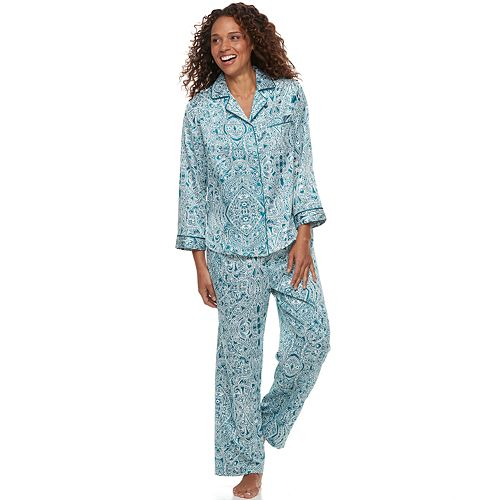 Petite Miss Elaine Essentials Paisley Satin Shirt   Pants Pajama Set 7fa2c5de1