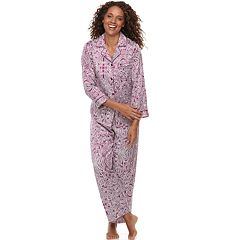 Petite Miss Elaine Essentials Paisley Satin Shirt & Pants Pajama Set