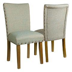 HomePop Classic Nailhead Parsons Dining Chair 2-piece Set