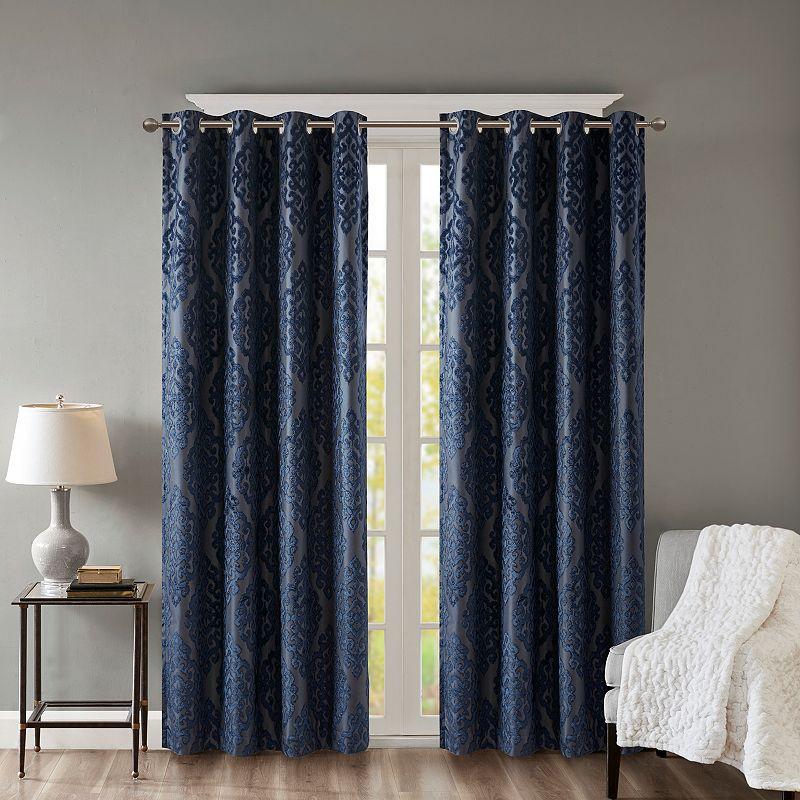 SunSmart Blackout 1-Panel Elysia Total Window Curtain, Blue, 50X84