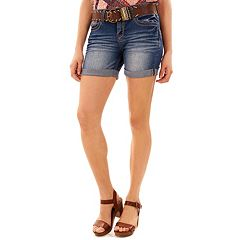 Juniors' WallFlower Luscious Curvy Jean Midi Jean Shorts