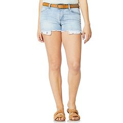 Juniors' Wallflower Distressed High-Waisted Jean Shorts