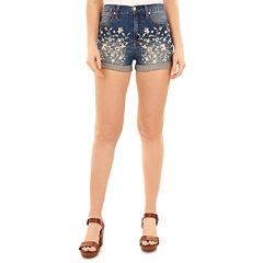 Juniors' Wallflower Floral Embroidered High Waisted Jean Shorts