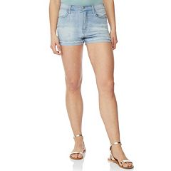 Juniors' Wallflower Anchor Embroidered High Waisted Jean Shorts