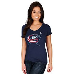 Women's Majestic Columbus Blue Jackets Logo Tee