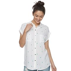 Juniors' SO® Roll-Cuff Button-Front Top