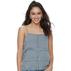Juniors' Mudd® Crochet-Trim Tank